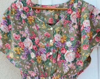 Pastel vintage Rene Derhy combination french 80's khaki flowers Bohemian Boho khaki pants suit floral jumpsuit