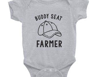 Buddy Seat Farmer cute farm baby rural country harvest tractor farming Infant onesie Bodysuit