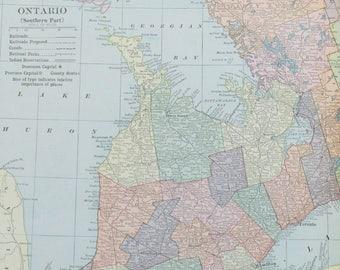 Canada Map Vintage Etsy CA - Maps of ontario canada