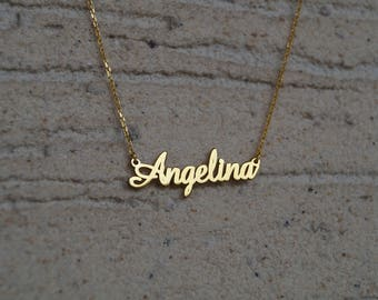 Name Necklace, Personalized Name Necklace, Name Jewelry, , Gold Necklace, Gold Name Necklace, Bridesmaid Gift, Tiny Gold Name Necklace