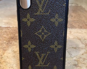 Handcrafted iPhone X flexible cell phone case covered in re-purposed Louis Vuitton canvas