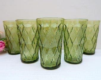 6 Avocado Green Gemstone tumblers, Anchor Hocking Gemstone, Fire King Kimberly design, Vintage green glass tumblers, Vintage glassware, 12oz