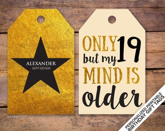 Hamilton inspired personalized printable birthday gift tags