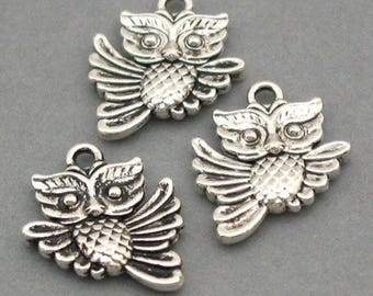 set of 10 OWL charms silver color (C53)