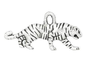 SET of 5 Tiger leopard Cheetah savanna Silver (C21) lion charms