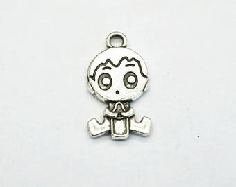charm baby boy silver bottle (D78) child