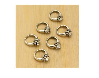 SET of 10 mini connector ring (D25) nugget silver charms