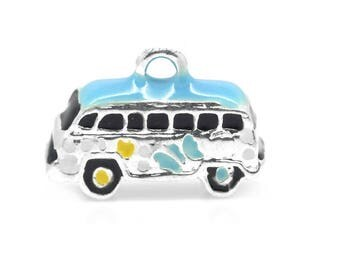 charm 3D charm pendant bus car transportation silver travel (A13)