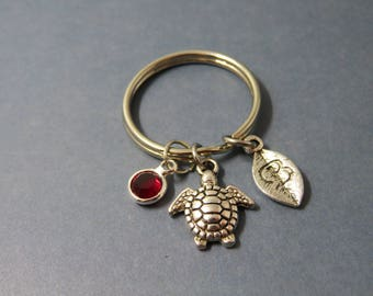 Turtle keychain - personalised turtle keyring - Keychain turtle - letter initial swarovski birthstone