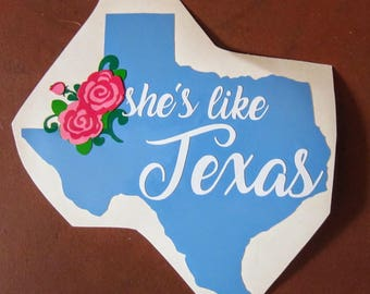 FREE SHIPPING. She's like Texas Vinyl Decal. Texas State Decal. Texas floral Vinyl. Yeti Decal. Tumbler, Car, Laptop Texas Vinyl