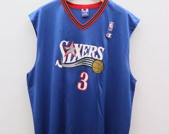 Vintage SIXERS Iverson 3 Champion NBA National Basketball Association Blue Jersey Size XXL