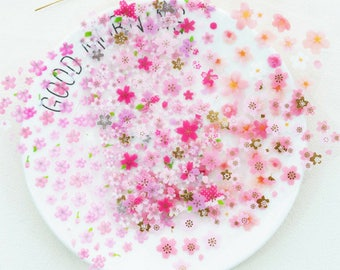 6 Sheets Romantic Sakura Stickers ~ Japanese Flowers Stickers, Decorative Cherry Blossom Stickers, Stationery, Scrapbooking, Floral Stickers