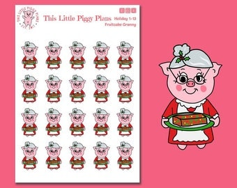 Fruitcake Granny - Fruitcake Planner Stickers - Christmas Cake - Holiday Treats - Christmas - Fruitcake - Planner Stickers - [Holiday 1-13]