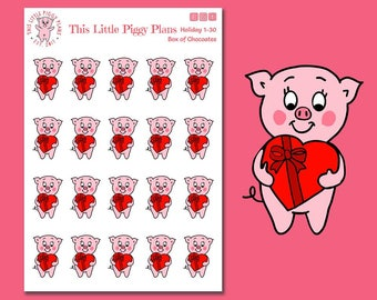 Box of Chocolate Oinkers - Valentine's Planner Stickers - Holiday Stickers - Chocolate - Valentine's Day [Holiday 1-30]