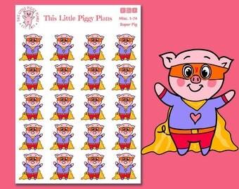 Super Pig! - Superhero Oinkers -  Superhero Planner Stickers - Pig Stickers - Planner Stickers - This Little Piggy - [Misc. 1-74]