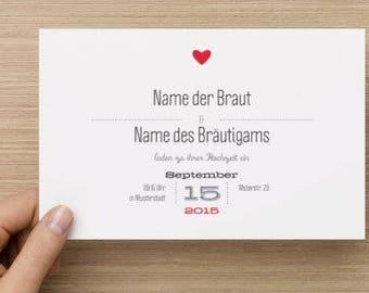 Individual wedding card cards