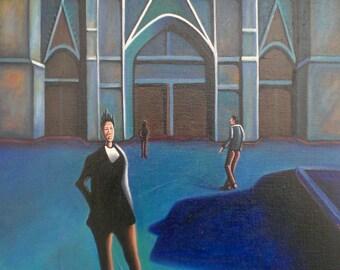 The blue Church - urban landscape painting