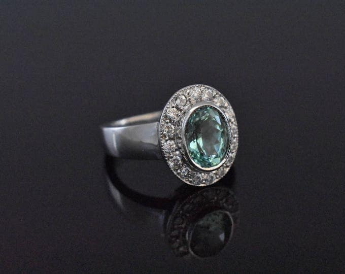 18K White Gold and Tourmaline Ring - GIA CERTIFIED!