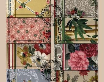 Retro Wallpaper Journal Cards, Instant Download