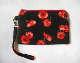 Poppy Wristlet Purse - Wristlet Clutch - Wristlet Pouch - Black Clutch - Wristlet Wallet - Clutch Purse - Vegan Bag - Zipper Purse - Clutch