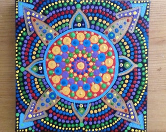 Dot art, Mandala Painting, Wall Art, canvas art, green, purple, ready to hang, boho, eastern art, boho gift, boho home, original painting