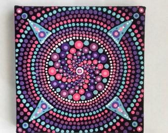 Mandala Art, Mandala Painting, Dot Art, canvas, pink, purple, ready to hang, boho, eastern art, boho gift, boho home, original painting,