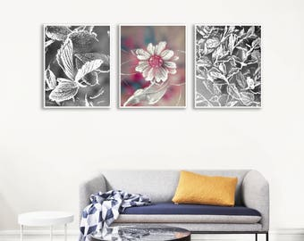 Modern Floral Printables, Gallery Wall Art Set, Nature Inspired Poster, Black And White Photo Decor, Large Flower Wall Decor, XL Printable