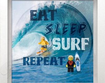 Lego Surfer Minifigure picture frame