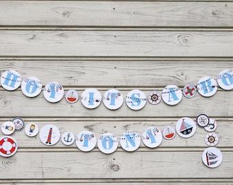 Nautical garland, It is a boy garland, Boy garland, Blue baby shower, Birthday garland, Nautical party, Baby boy shower, Blue white garland