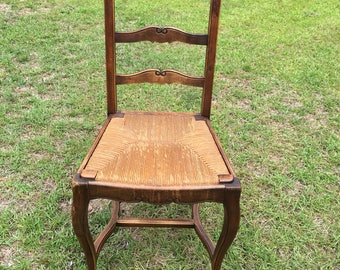 6 Antique French Country Chairs with removable rush seats