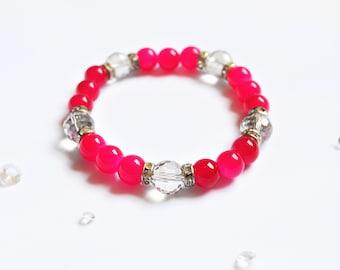 Bright Pink Elasticated Bracelet