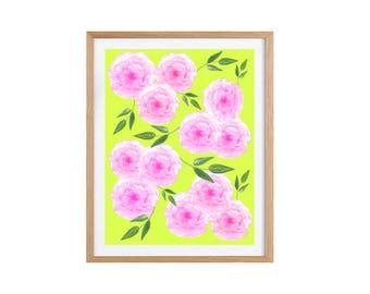 Watercolor Flowers Print, Big Flower Bouquet Poster, Flower Art, Flower Prints Art, Mother's Day Gift, Pink Flower Illustration