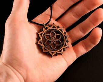 Seed of Life Necklace - Bubinga Wood Pendant - Sacred Geometry Flower of Life