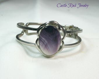 RESERVED FOR L. J. BRYAN ** Purple and White Double Shell Clamper Bracelet