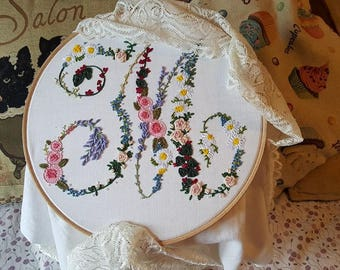 Hand Embroidered Floral Monograms