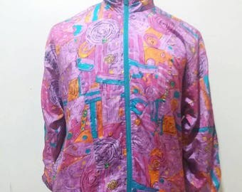 Rare vintage LAVON neon jacket, hip hop design jacket