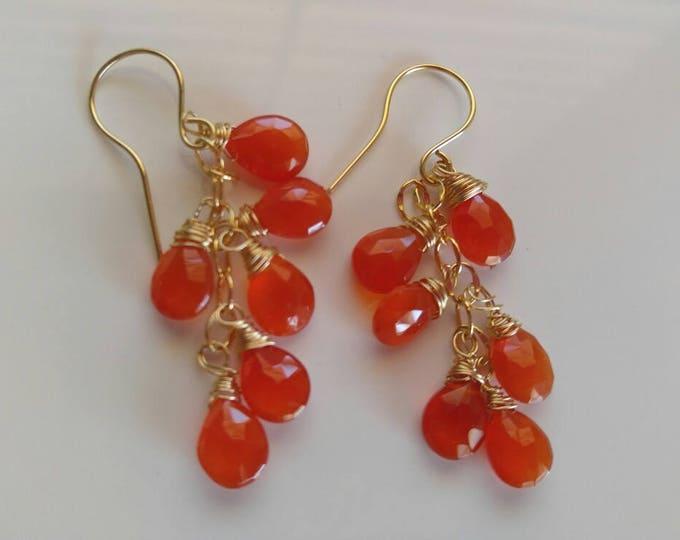 Carnelian chandelier dangle earrings. Red Carnelian dangle and drop earrings. Halloween earrings. Halloween dangle earrings. Hand made