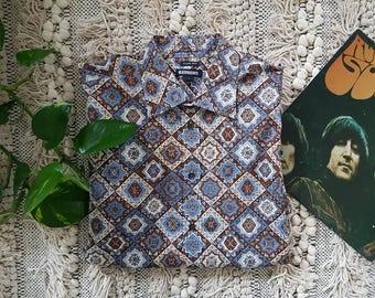 vintage retro indie cotton party shirt size L