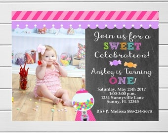 Personalized Sweet Birthday Invitation, Candy land Invitation, Candy Shop Party Invitation,Sweet Shoppe Invitation,Candy Shoppe Invite