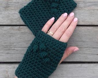 Crochet fingerless gloves, Texting gloves, Phone gloves, Touchscreen gloves, Handwarmers, Gift for her, Green womens gloves, Armwarmers