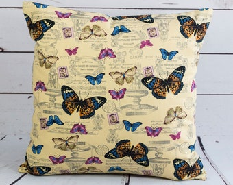butterfly cushion cover, music note  cream yellow brown pink  postcard cotton  cushion cover, 16 inch multicolour decorative pillow case