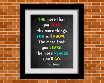 Printable Dr. Seuss Art, Dr. Seuss Quote, Playroom Wall Art, Nursery Room Décor, Classroom Inspiration Quotes, Dr. Seuss, Cat in the Hat
