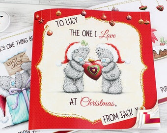 Personalised Me to You The One I Love at Christmas Poem Book Gifts Ideas For Husband Wife Girlfriend Boyfriend Presents