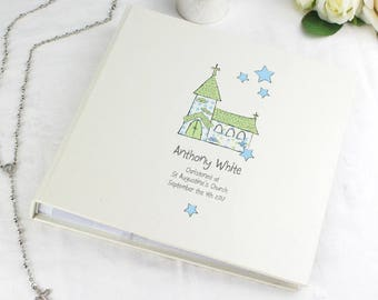 Personalised Whimsical Blue Church Album with Sleeves Gifts Ideas For New Born Babys Babies Boys Christening Baptism First Holy Communion