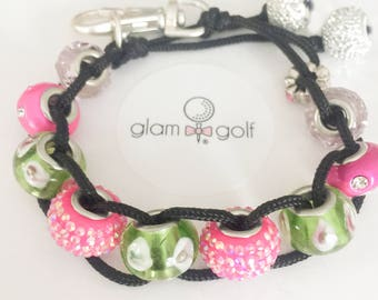 GlamGolf: Golf Stroke Counter with pink crystals green european glass beads