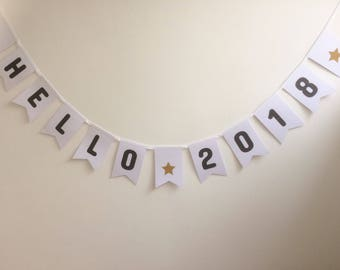 Hello 2018 Banner, New Year 2018 Banner, New Year 2018 Bunting , 2018, Celebration