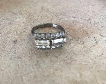 Vintage Adjustable Costume Rhinestone Ring