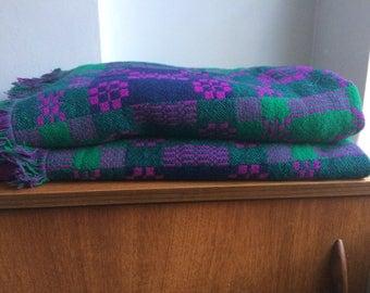 Original 1960s Welsh tapestry blanket. Reversible. In greens and purples.