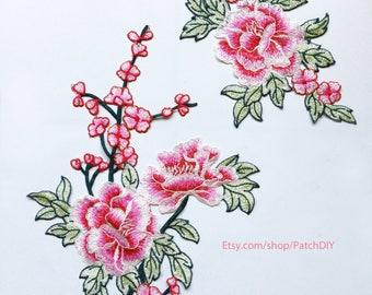 """Large applique FLOWER pink green branch Embroidered love shabby lace DIY jacket vintage retro flower romantic tattoo 14"""" x 9.5"""" and 10"""" x 6"""""""