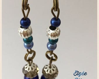 Long earrings blue and bronze